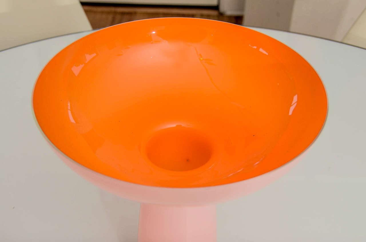 Large orange cased glass centerpiece bowl at stdibs
