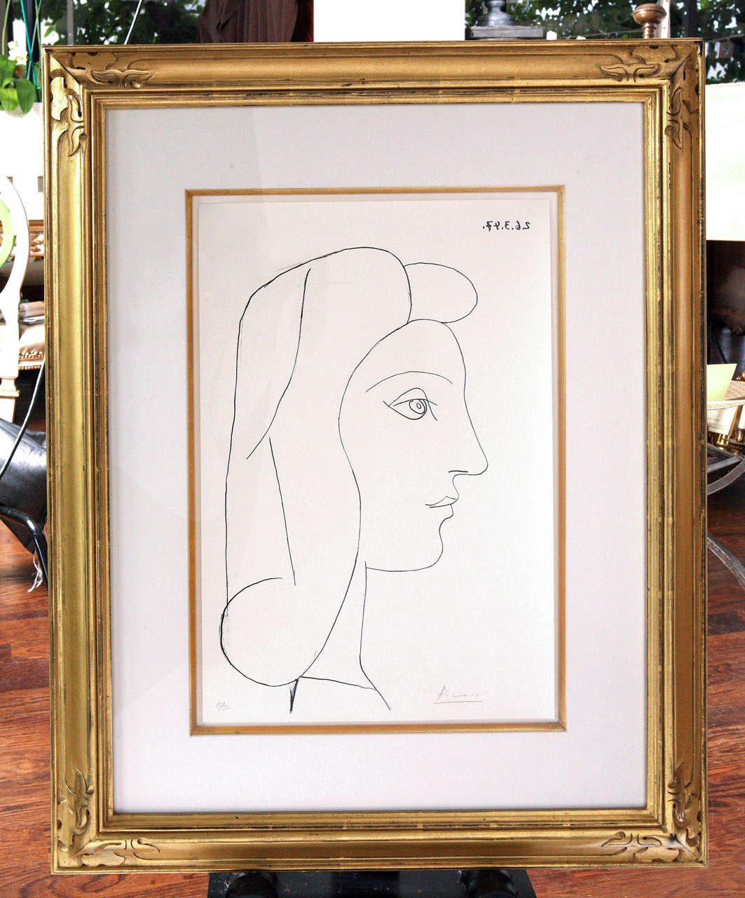 Picasso lithograph of Francoise, [Profil de Femme] 1947.  Signed, lower right, in pencil.  Hinged in frame.  Gilt frame.  Image size: 15