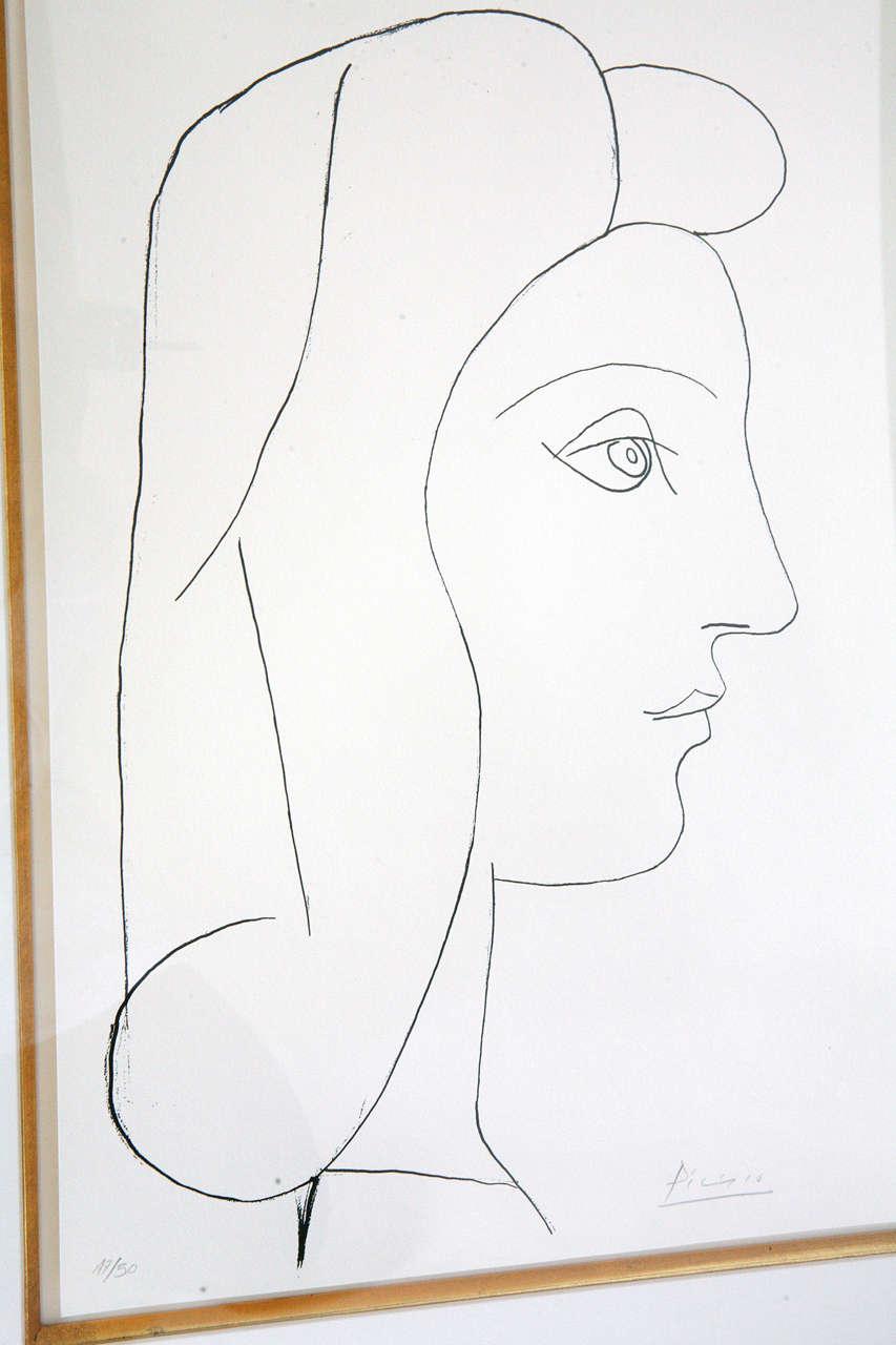 Picasso Lithograph - Profil de Femme For Sale 1