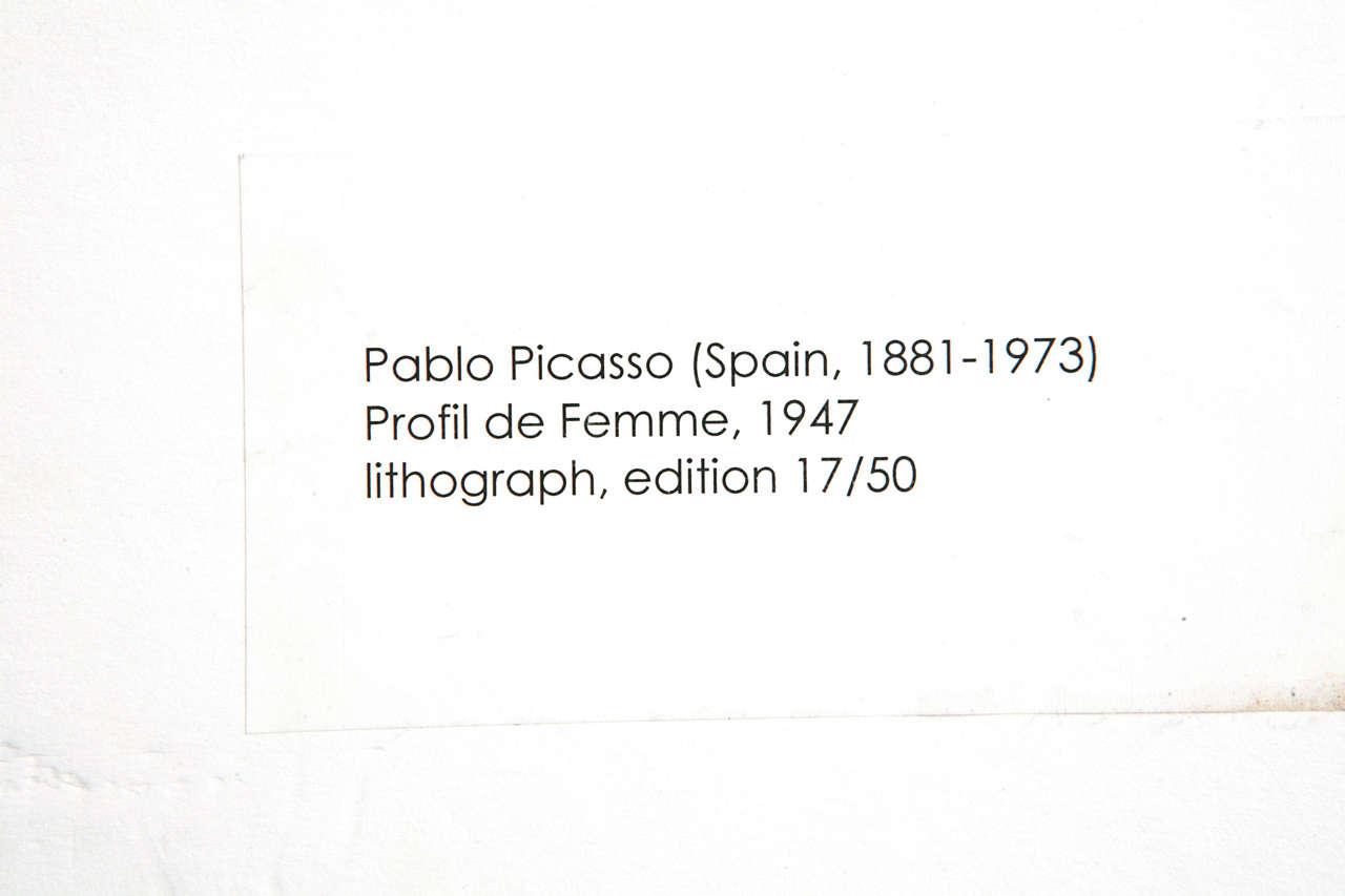 Picasso Lithograph - Profil de Femme For Sale 2