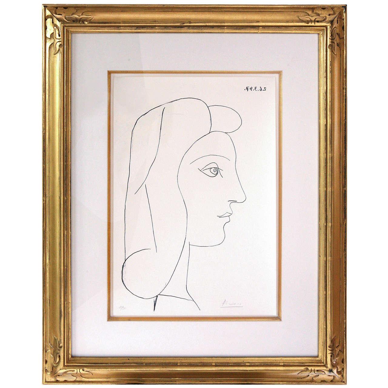 Picasso Lithograph - Profil de Femme For Sale