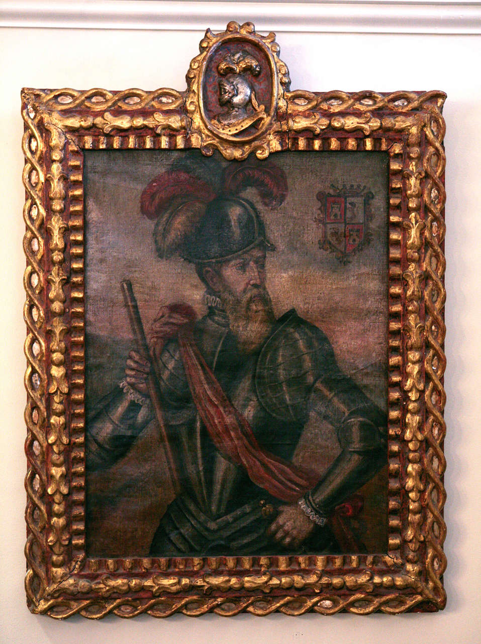 Conquistador painting believed to be Francisco Pizarro.  Painting in typical Peruvian frame.  From the Spanish Colonial period, 1520-1820.  Cuzco school artist unknown.