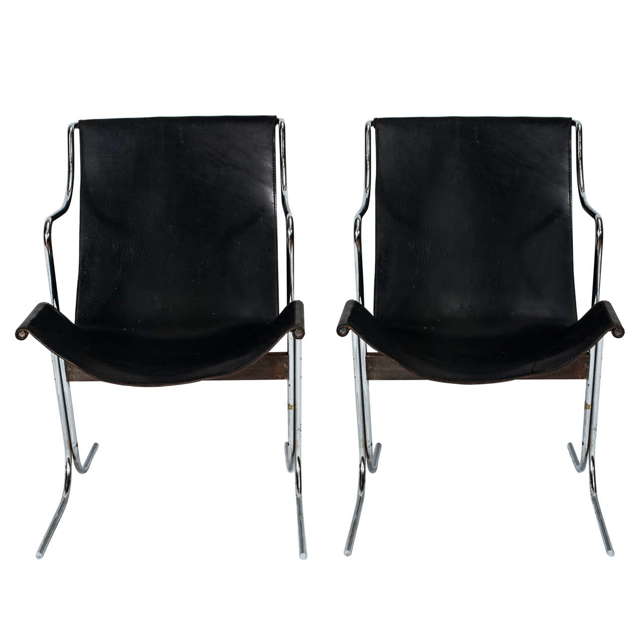 Pair of 1970s Steel and Black Leather Italian Chairs