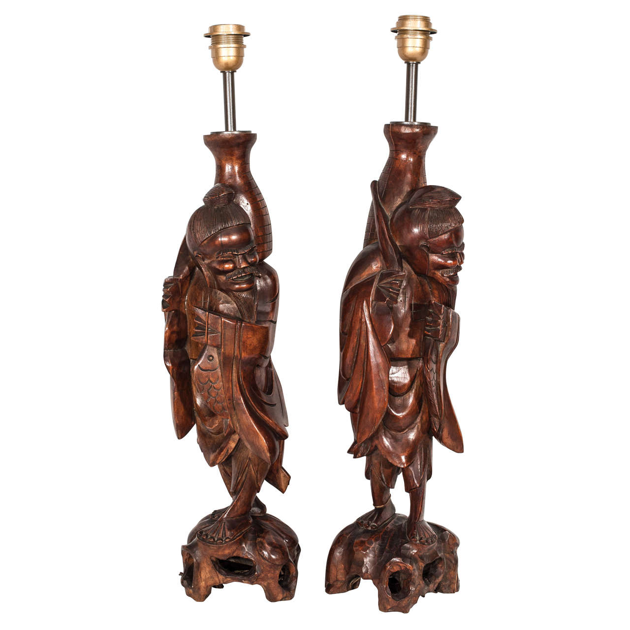 Late 19th Century Pair of Hand-Carved Wood French Table Lamps