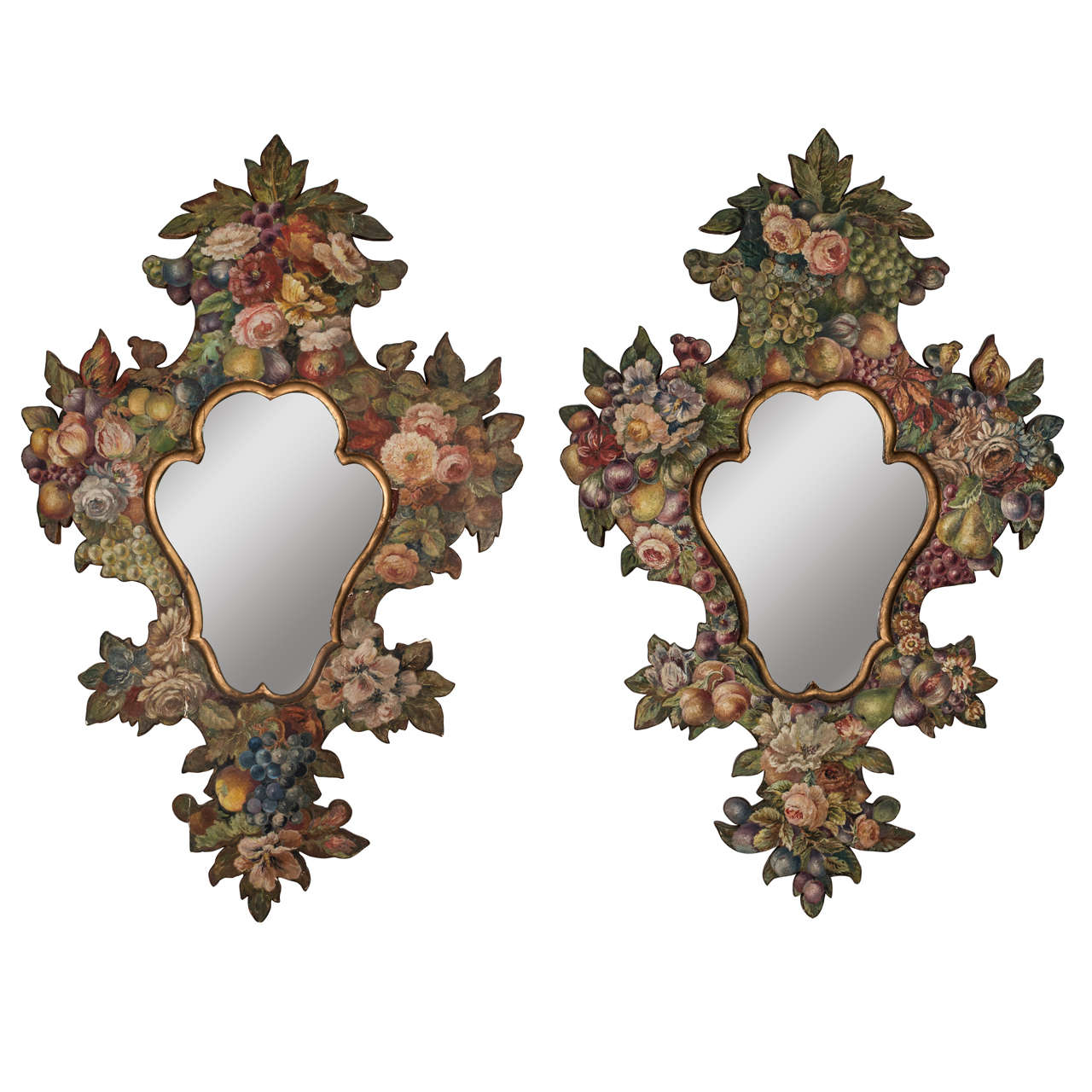 Pair of 19th Century Hand-Painted Mirrors