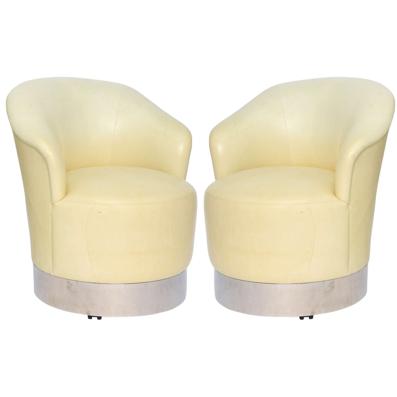 Pair of Sally Sirkin Lewis Lambskin Marina Swivel Chairs on Casters