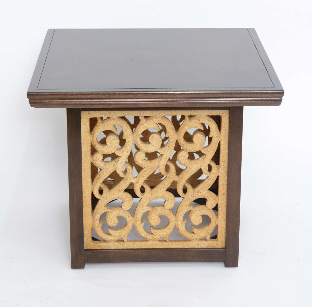 REDUCED FROM $2,250. Rarely seen, this Widdicomb table features an elegant square molded and inlaid walnut top and legs in Sable color with cast sculptural resin panels in a repeating C-scroll design. inlay design is quartered with a circular