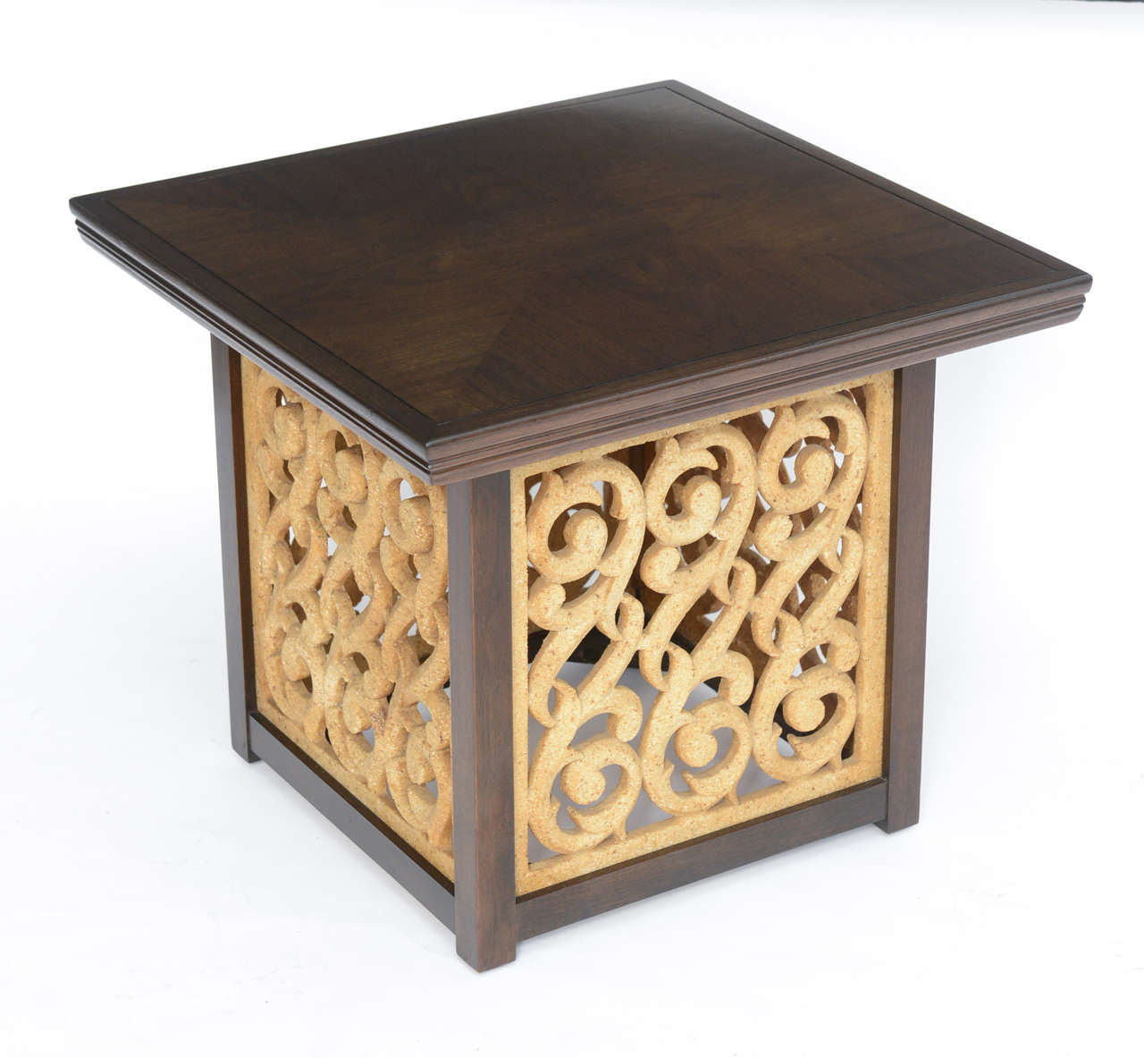 Hollywood Regency Elegant 1950s Detailed Widdicomb Side Table in Walnut For Sale