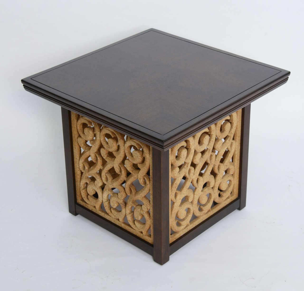 American Elegant 1950s Detailed Widdicomb Side Table in Walnut For Sale