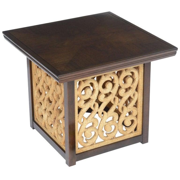 Elegant 1950s Detailed Widdicomb Side Table in Walnut For Sale