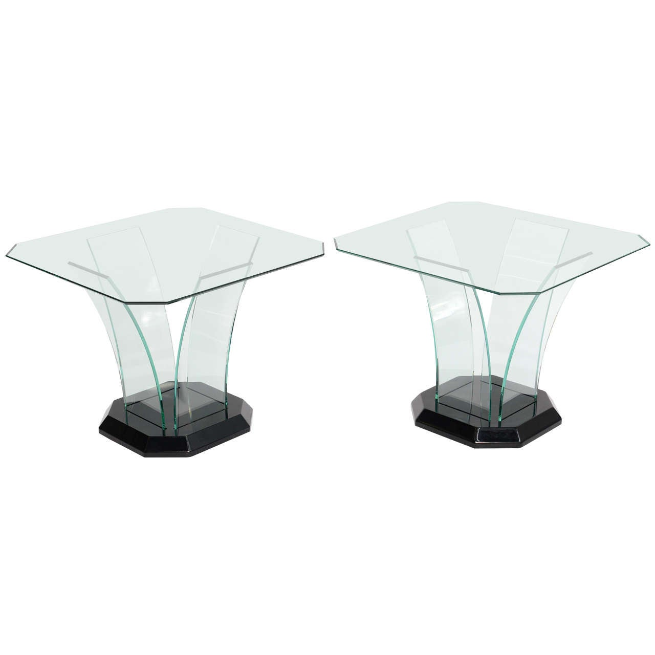 pair ben mildwoff art deco bent glass side tables at stdibs - pair ben mildwoff art deco bent glass side tables