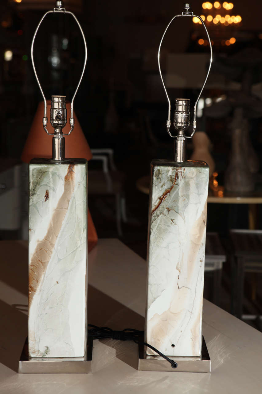 Pair of Italian Mid-Century Table Lamps in Marbleized ...