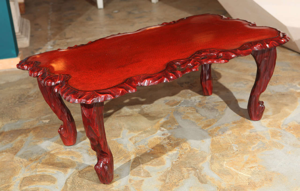 Lacquered Chinese Root Coffee Table At 1stdibs