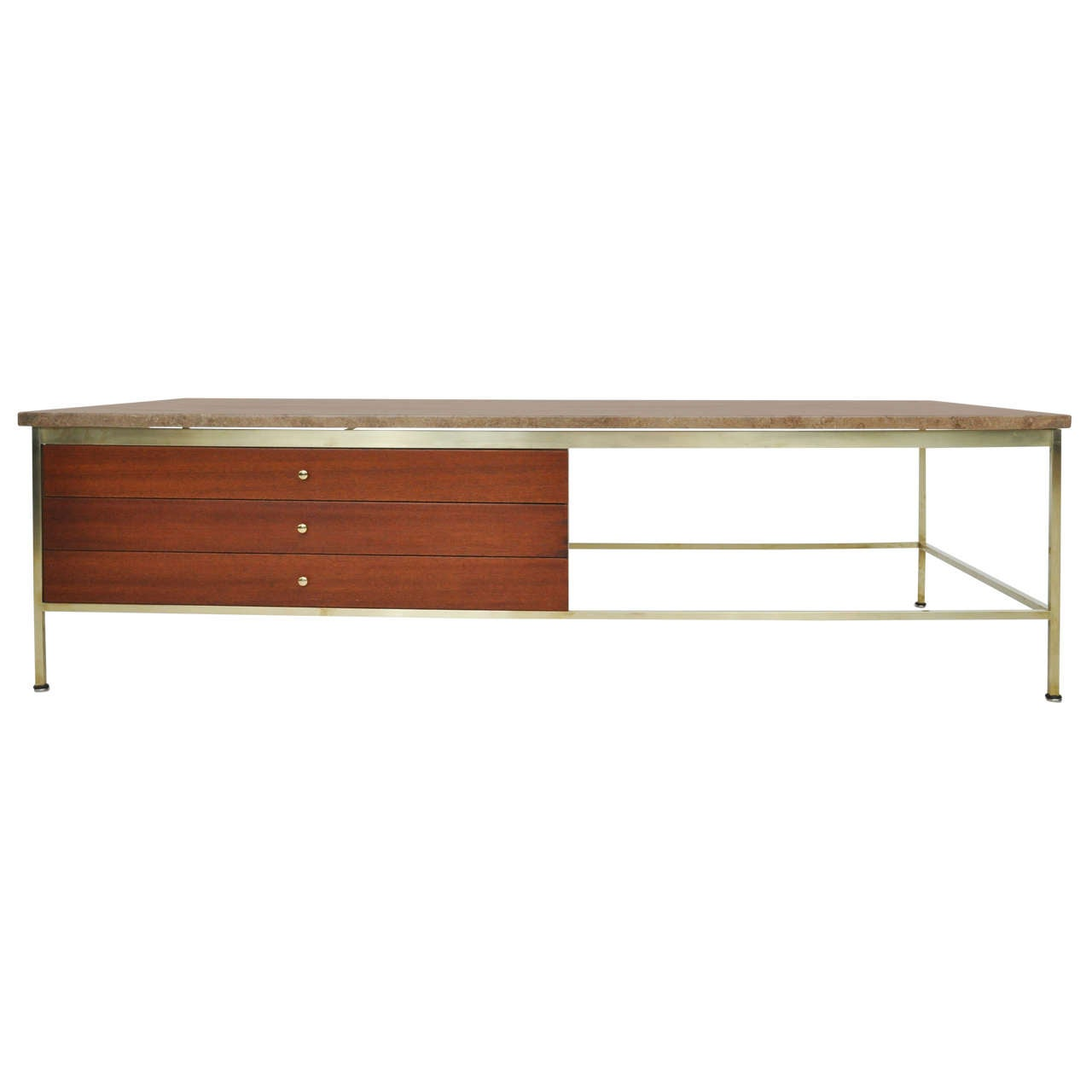 Paul Mccobb Brass Frame Coffee Table At 1stdibs
