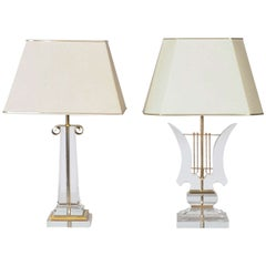 Hollywood Regency Pair of Lucite Table Lamps in Harp and Obelisk Shapes