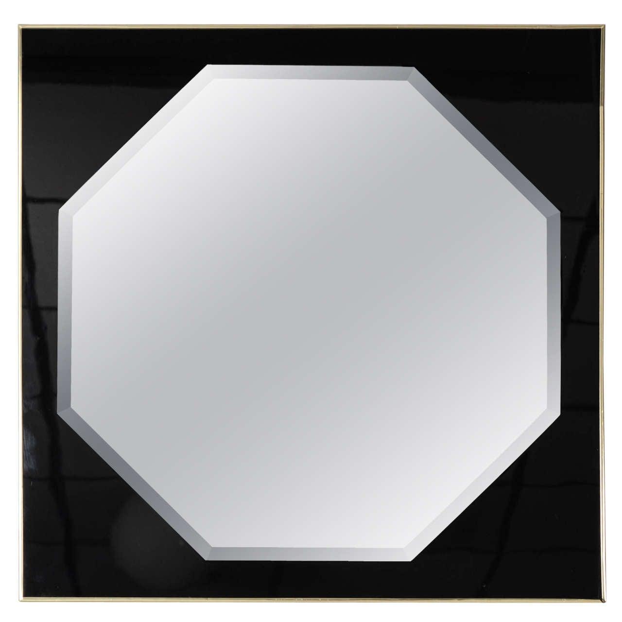 Octagonal Club Mirror in Black and Brass Frame