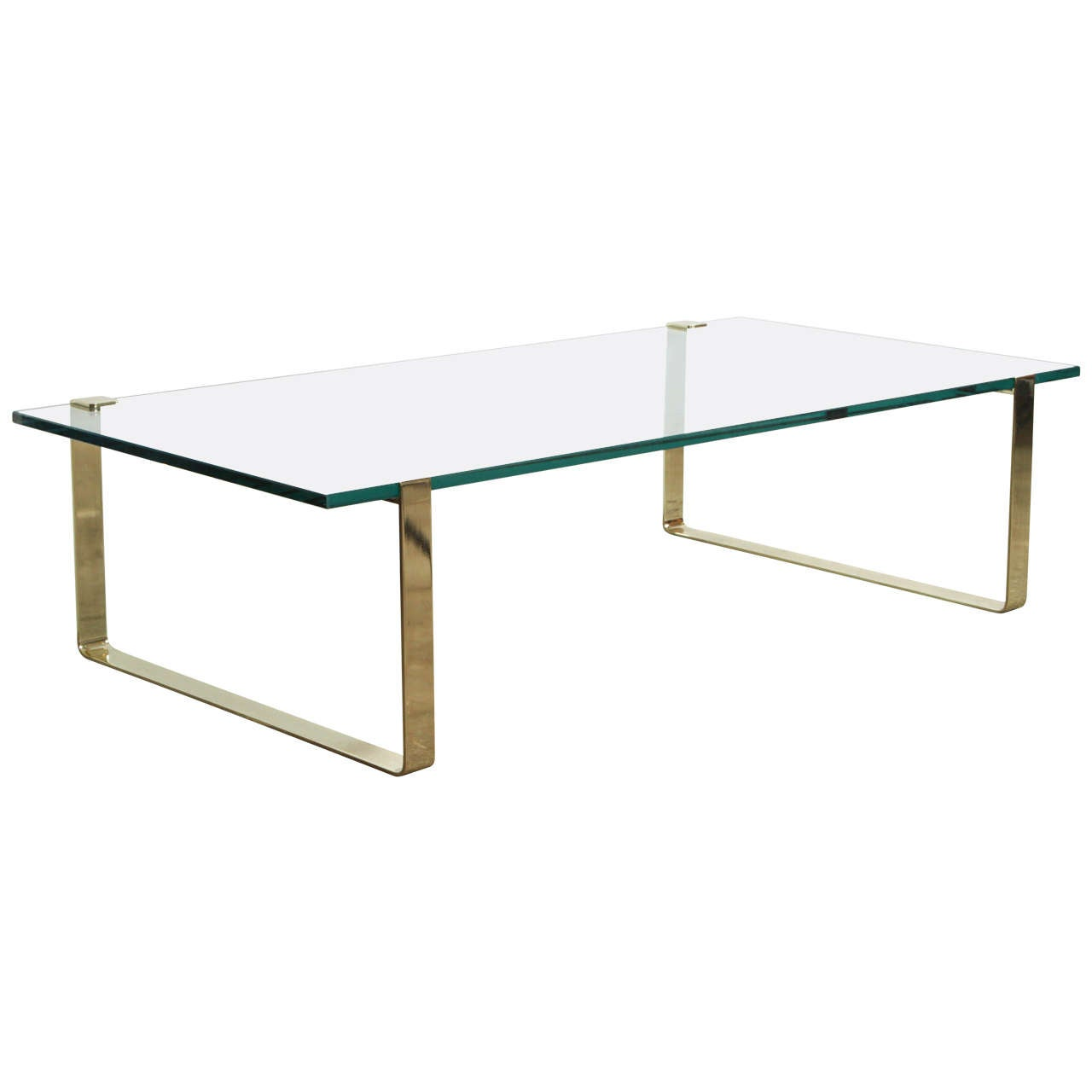 Vintage Brass Bands And Glass Coffee Table Attributed To Pace Collection At 1stdibs