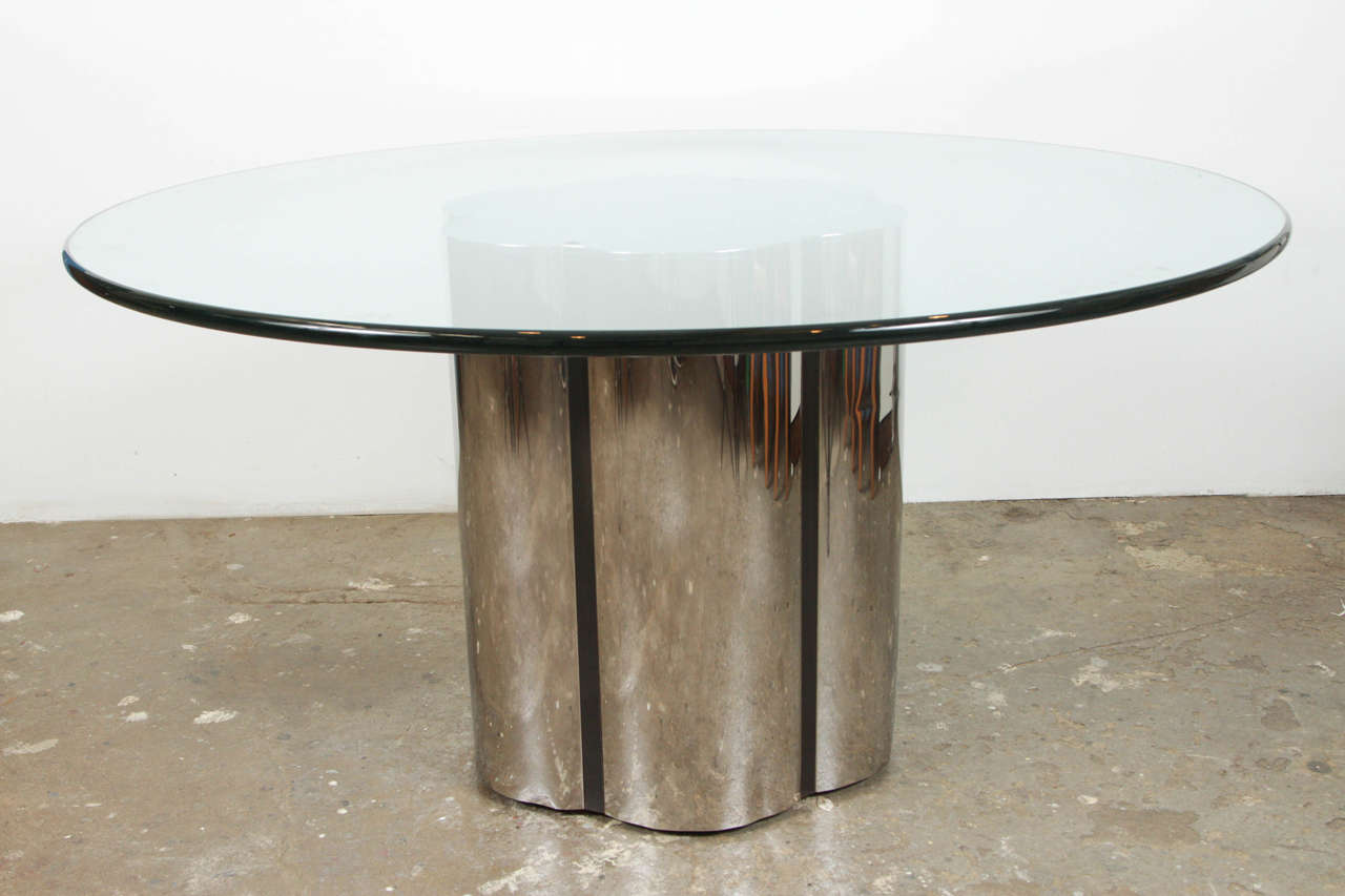 Mid century scalloped edge chrome dining table with large for Large glass table top