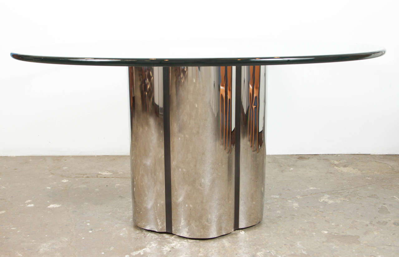 Mid Century Scalloped Edge Chrome Dining Table With Large