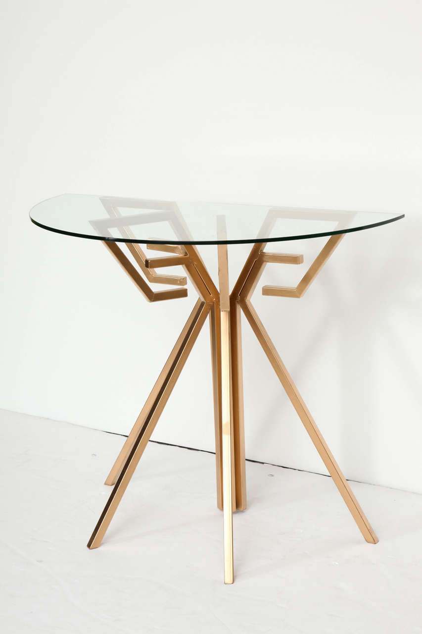Pair of Metal and Glass Console Tables For Sale 3
