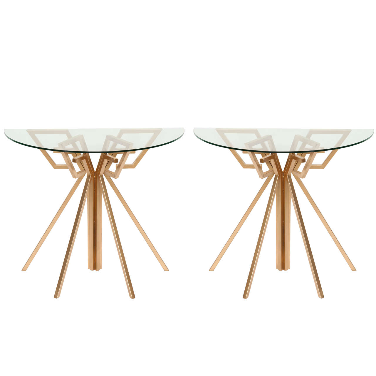 Pair of Metal and Glass Console Tables For Sale
