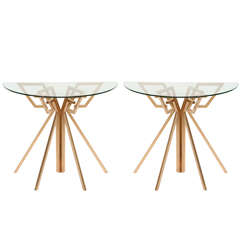 Pair of Metal and Glass Console Tables