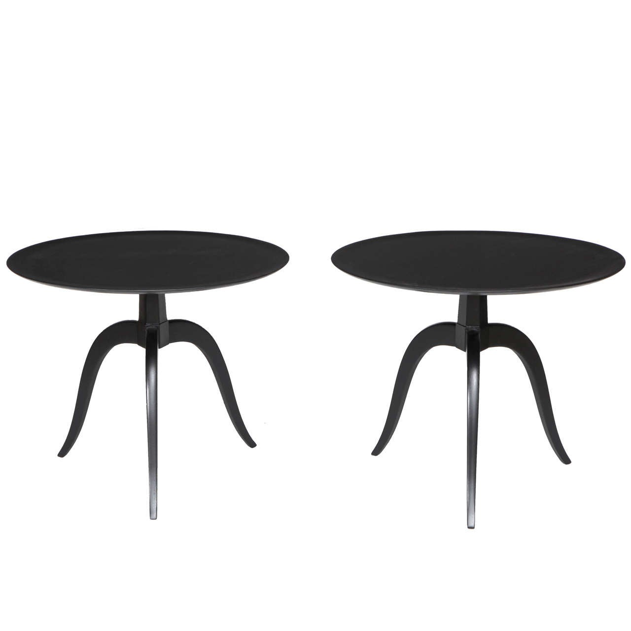 Ebonized Round End Table by Edward Wormley for Dunbar, 2 Available