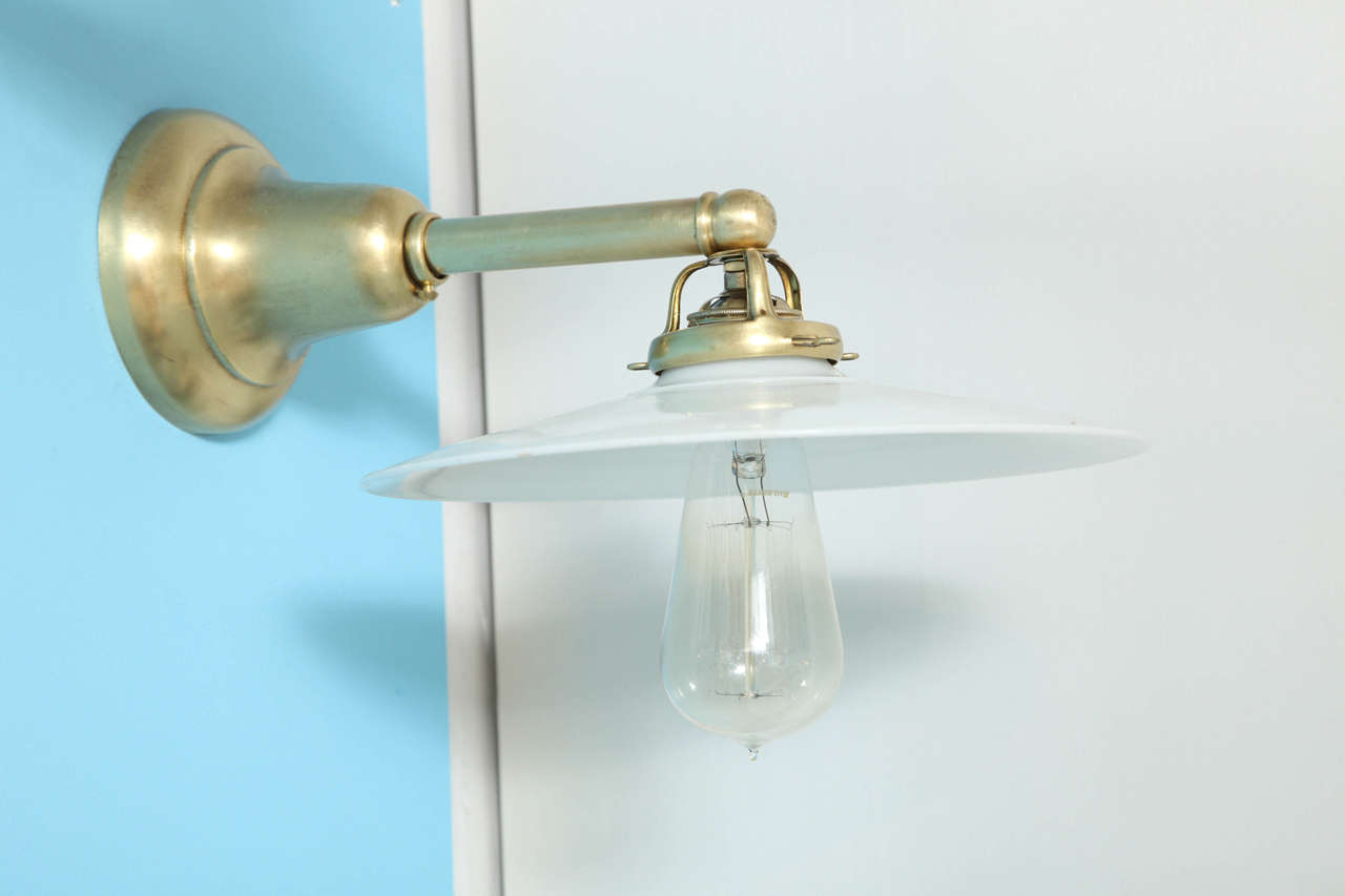 Antique Wall Sconce Glass Shades : Antique Pair of Deep Brass Wall Sconces with Milk Glass Shades at 1stdibs