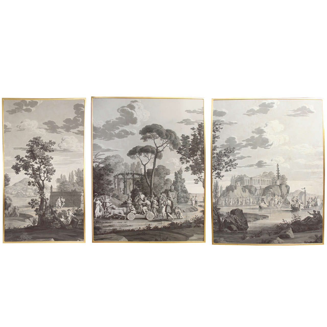 Joseph Dufour grisaille wall panels, 1820s