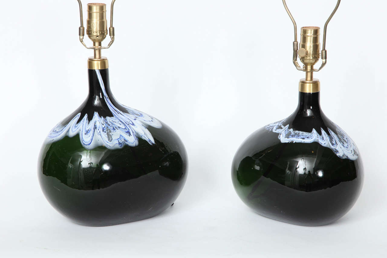Swedish Pair of Black Emerald Art Glass Lamps by Michael Bang For Sale