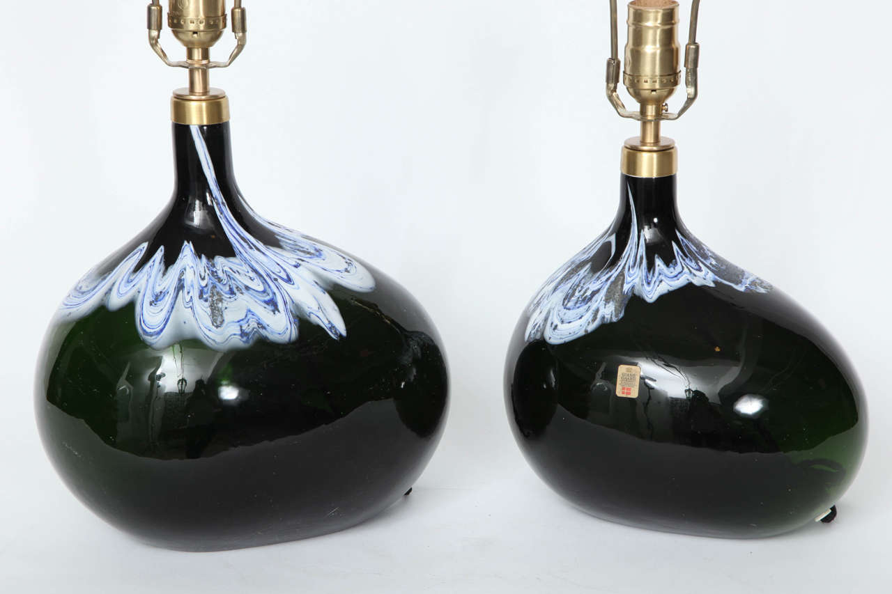 Pair of Black Emerald Art Glass Lamps by Michael Bang For Sale 1