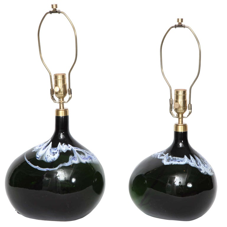 Pair of Black Emerald Art Glass Lamps by Michael Bang For Sale