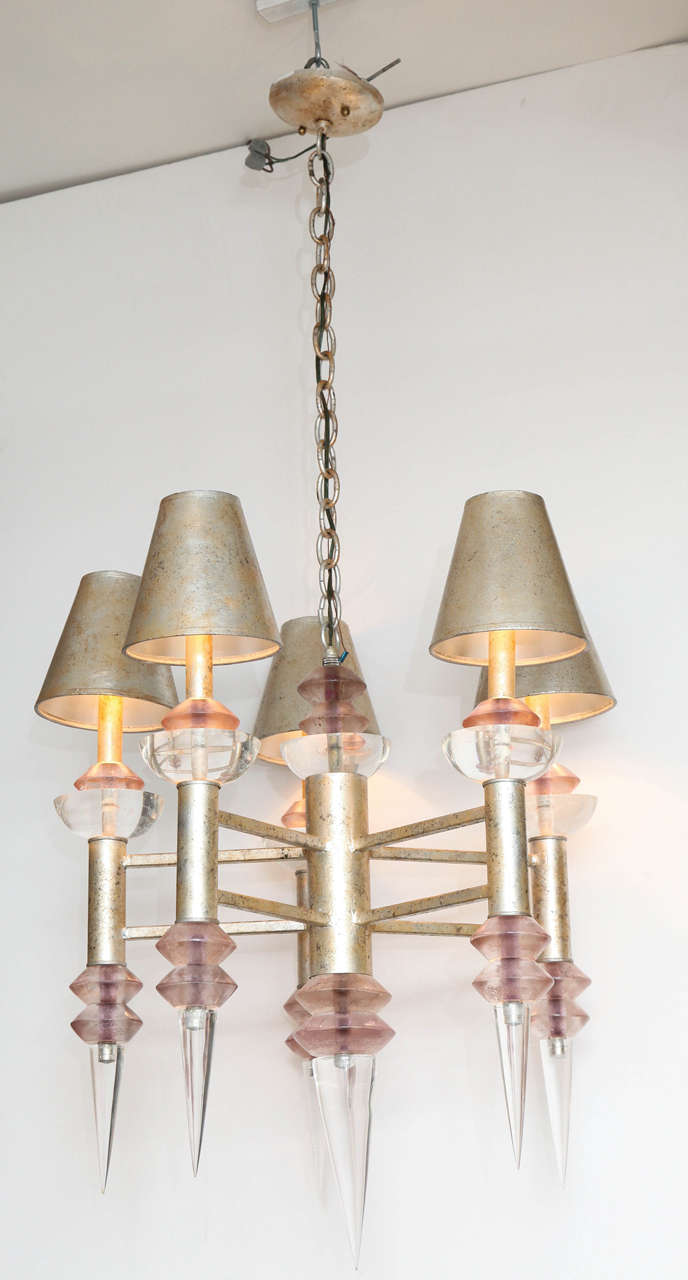 Chandelier by Hiro Van Teal, circa 1970 in Lucite, in perfect condition and original shades.