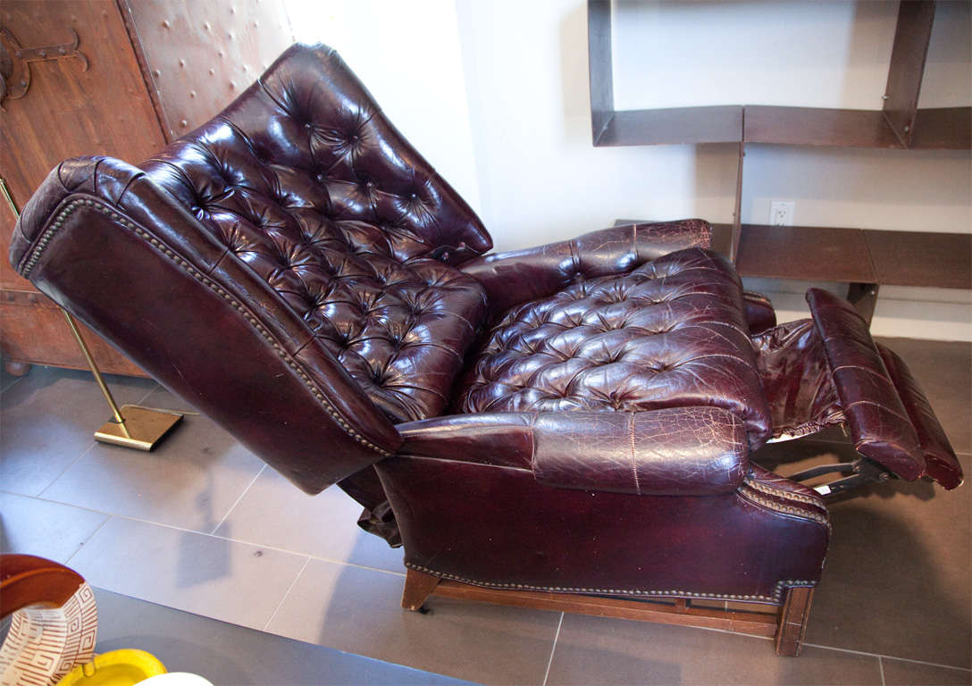 Chesterfield Leather Tufted Recliner At 1stdibs