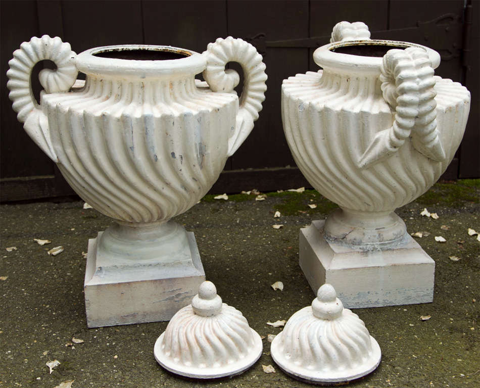 Pair of Unusual Cast Iron Lidded Urns For Sale 3