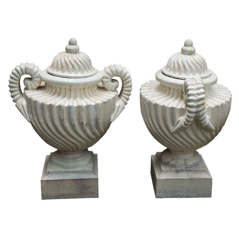 Pair of Unusual Cast Iron Lidded Urns For Sale