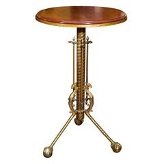 Gueridon Table In Mahogany, Bronze & Brass