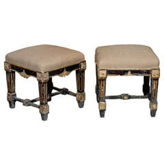 Pair of French Upholstered Stools - SOLD