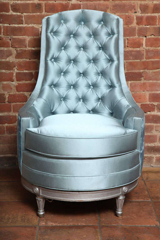 Merveilleux French Louis XVI Furniture Antique Swivel Slipper Chair For Sale