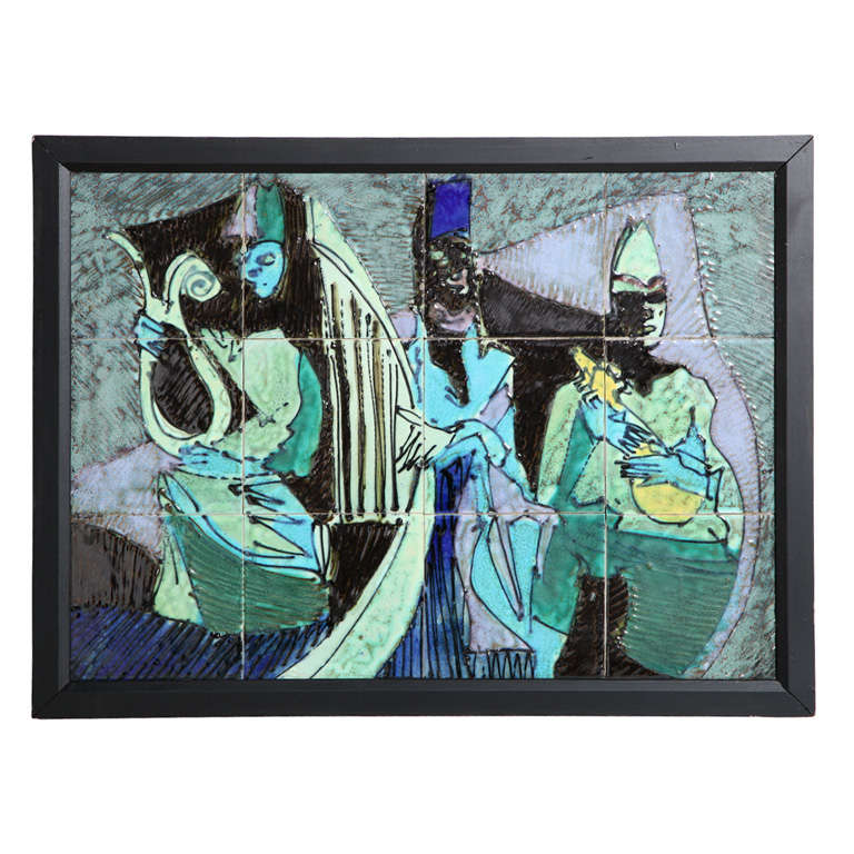 """Harris G. Strong Framed Colorful Hand Painted """"Three Musician"""" Tile Art, 1950's"""