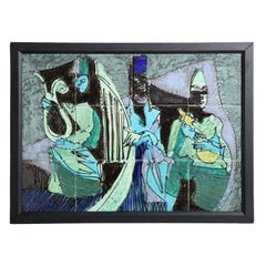 "Harris G. Strong Framed Colorful Hand Painted ""Three Musician"" Tile Art, 1950's"