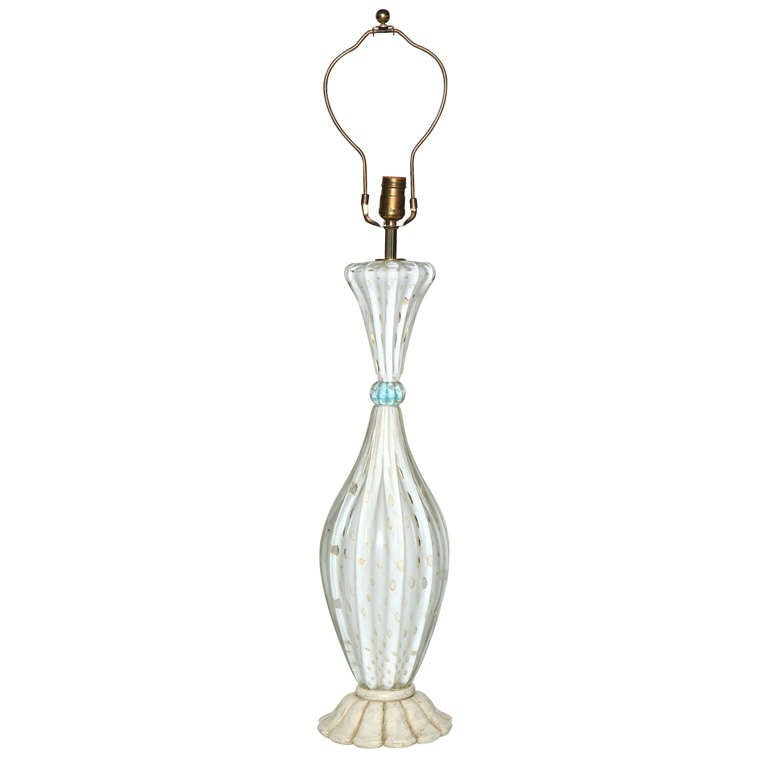 1950s Barovier e Toso Murano Glass Table Lamp in White with Gold inclusions