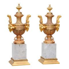 Ornamental Rock Crystal and Gold Leaf Trophy/Urns -Objets D'arts