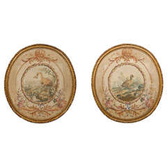 French, 18th Century Oval Pastoral Beauvais Tapestries with Giltwood Frames