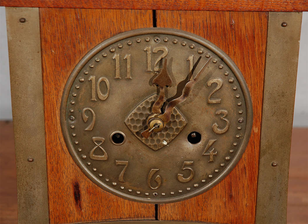 Antique arts and crafts mantle clock at 1stdibs for Arts and crafts clocks for sale