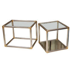 Brass and Chrome Side Tables