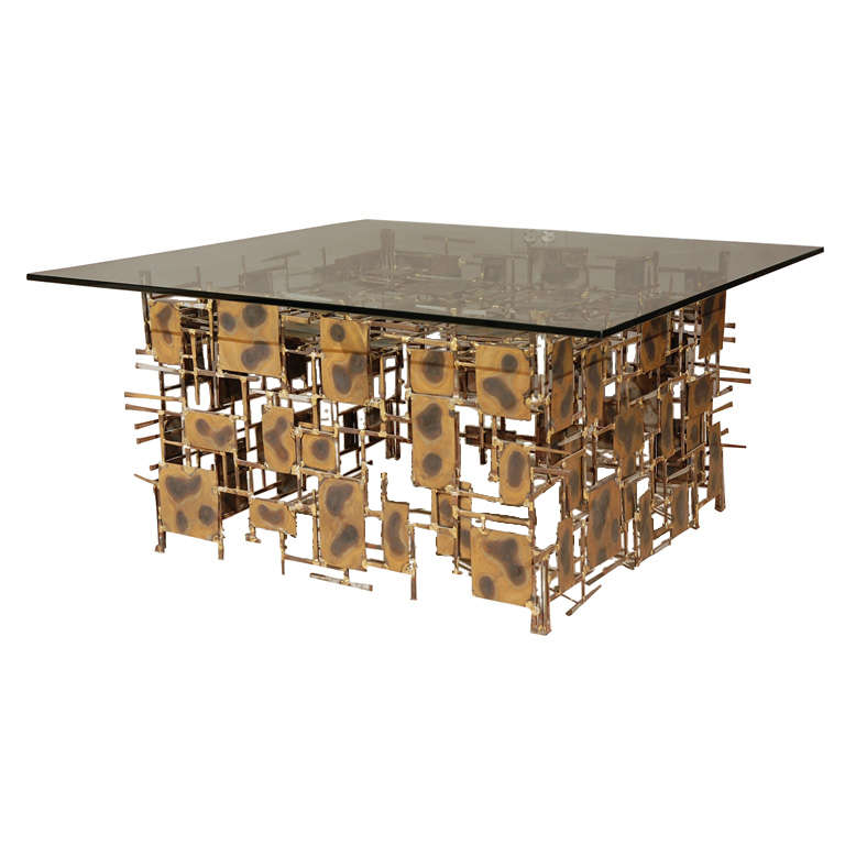 Artimeta Attributed Square Metal And Glass Coffee Table At: New York Artist Silas Seandel's Metal And Glass Coffee