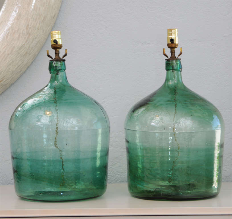 Pair of Green Glass Vintage Wine Jug Lamps 2
