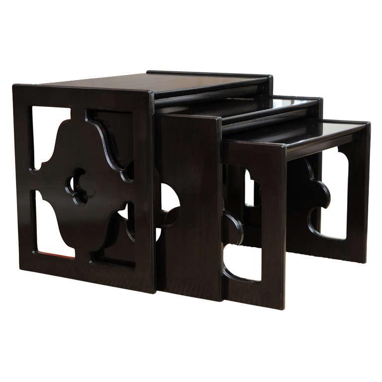 Amazing Set of  Three Cutout Ebonized Wood Nesting Tables