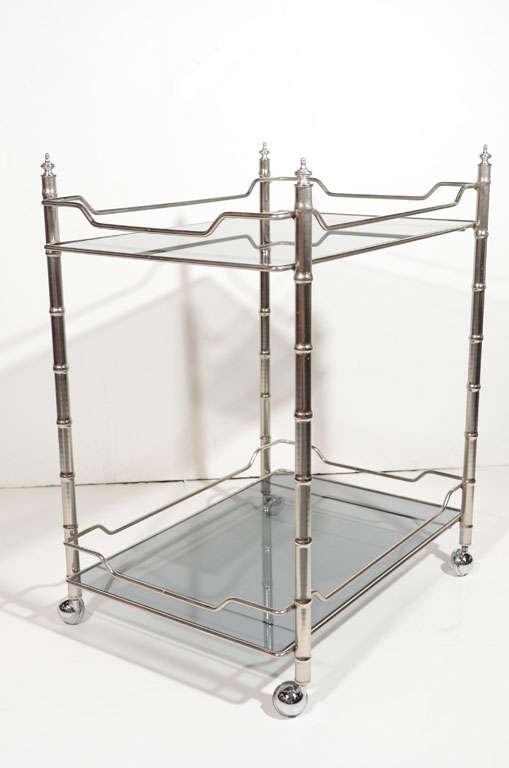 Glass Maison Baguès Style Mid-Century Modern Bart Cart For Sale